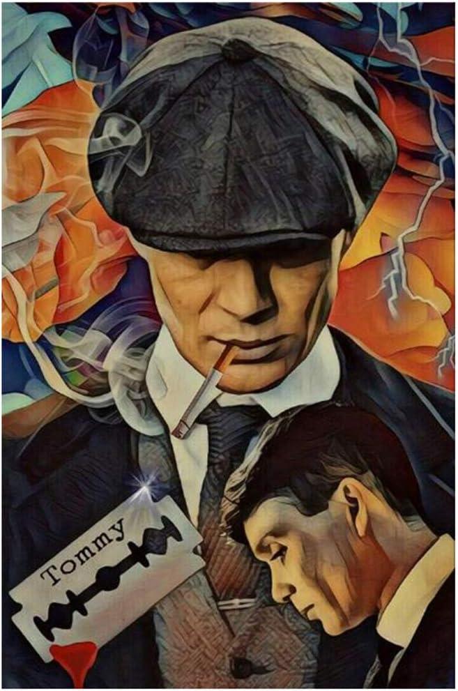 ASLKUYT Retrato de Tommy Shelby Pósters e impresiones de arte de pared Peaky Blinders Pinturas de arte abstracto Imprimir en lienzo Imágenes de arte -24x32 IN Sin marco