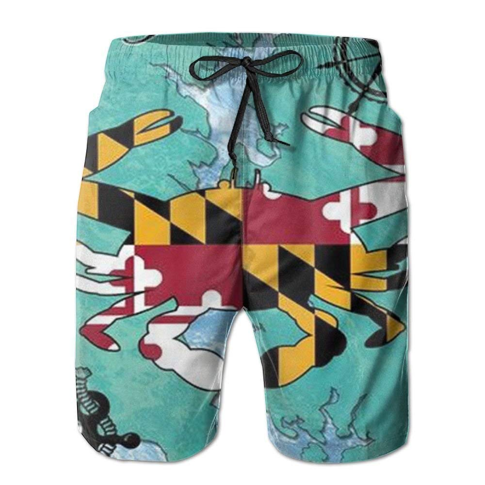 MIGAGA Maryland Mens Quick Dry Swimming Trunks Surfing Boardshorts Big and Tall