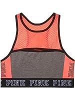 Victoria's Secret PINK Cotton Mesh High Neck Bra Top Gray/Coral