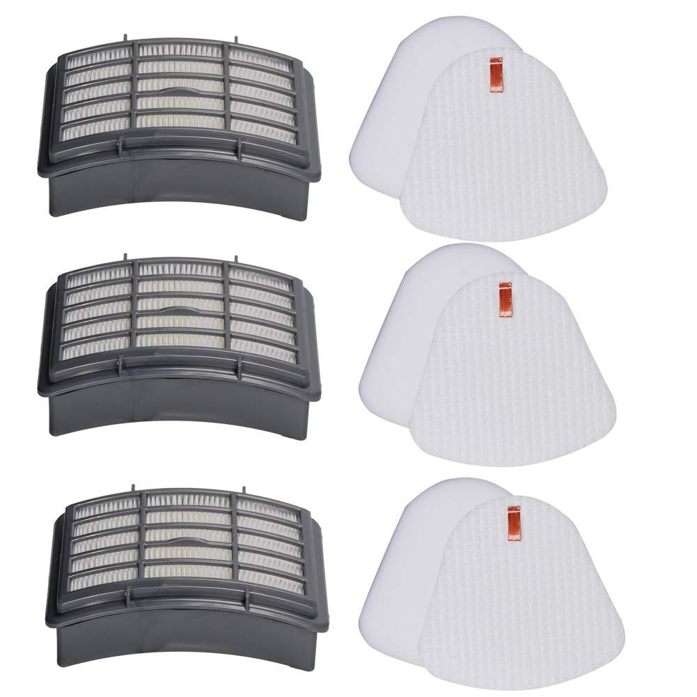 HIFROM Replacement Vacuum Filter Kits for Shark Navigator Lift Away NV350, NV351, NV352, NV355, NV356, NV357, Pre-Filter Foam & Felt and HEPA Filter for Shark Part # XFF350 & # XHF350 (3 Set)