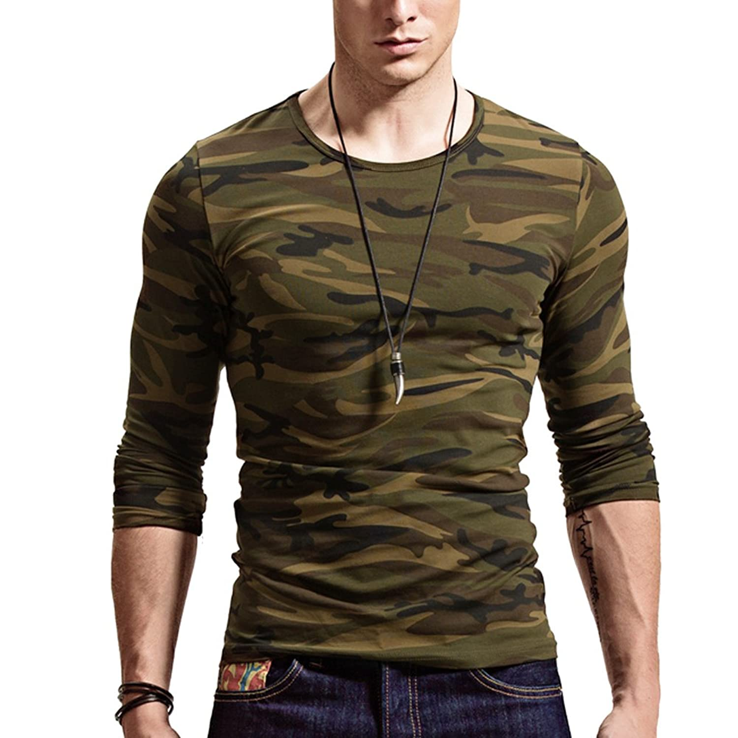 71b01c506 ... extremely comfortable to wear. CAMO DESIGN: Slim fit camo military T- shirt, full sleeve, round necked design, showing the military\'s  personality and ...