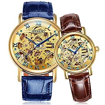 WATCHES-HAN Relojes para Parejas 12 Colores 2 Piezas Impermeable Acero Inoxidable Hueco Automático Reloj
