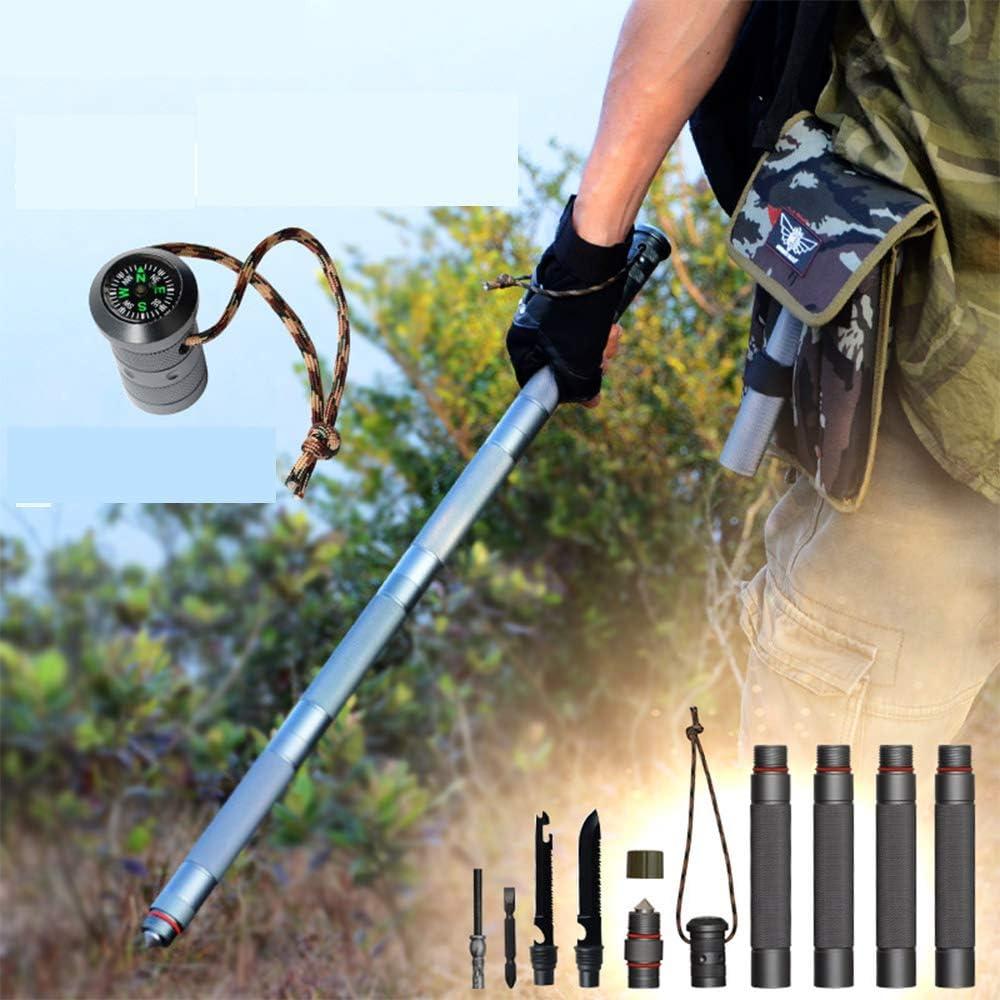 FLORYDAY Survival Multi-Purpose Trekking Pole einstellbar zusammenklappbar Expert Trekking Pole Faltbar Ultraleicht mit extra Tragebeutel
