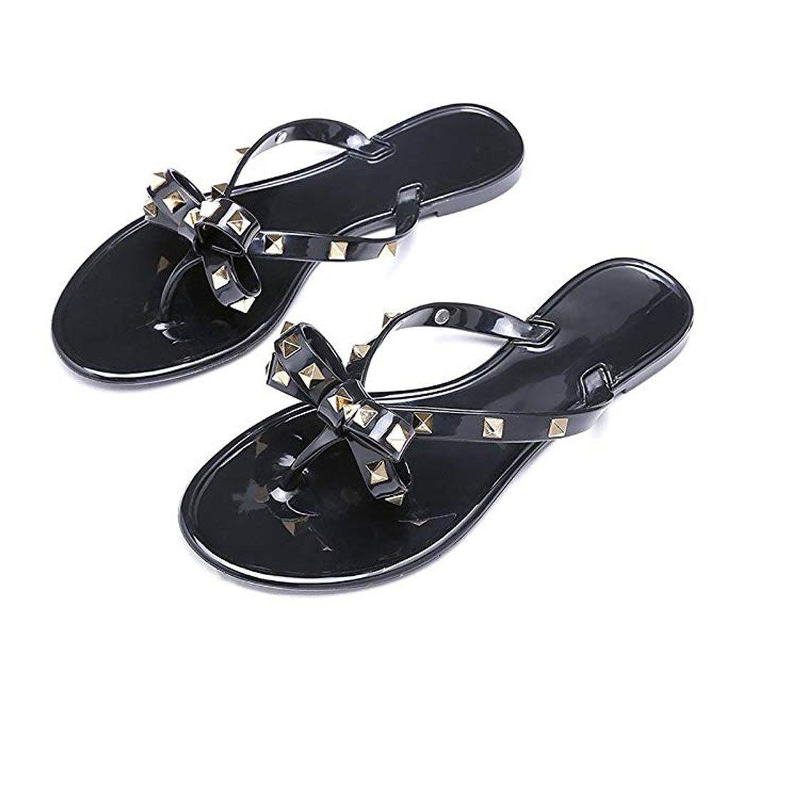 492be78bc Details about Utop Women s Rivets Bowtie Flip Flops Jelly Thong Sandal  Summer Beach Rain Shoes