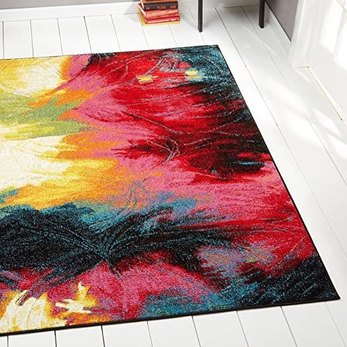 Home Dynamix Splash Mondrian Area Rug 7 10 x10 2, Abstract Black Blue Pink Yellow