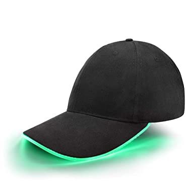 aa4bcfab jiguoor LED Hat led Lighted Glow Club Party Sports Athletic Black Fabric  Travel Flashlight Light up Hat Baseball Golf Hip-hop Sports Flash Cap Stage  ...