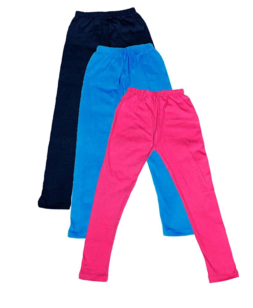 -Multiple Colors-11-12 Years Pack of 3 Indistar Big Girls Cotton Full Ankle Length Solid Leggings