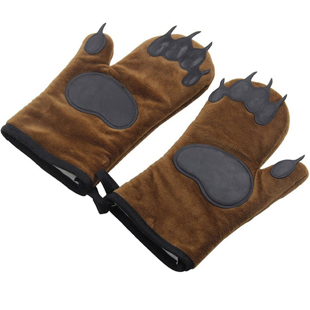 Qureal Bear Hands Silicone Oven Mitts,1 Pair of Professional Heat Resistant Funny Oven Mitts for Cooking, Grilling, Baking (brown)