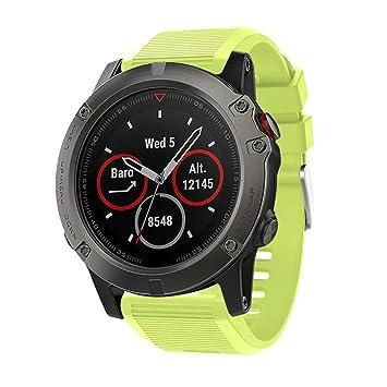 squarex - Correa de repuesto para reloj GPS Garmin Fenix 5X, color verde