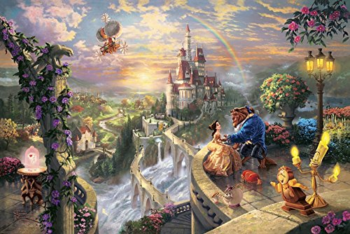 SomoArt-Printed Poster Wall Art Home Decor HD Prints Oil Paintings on Canvas Beauty and the Beast Falling in Love Thomas Kinkade Landscape Beautiful Art (Beauty And The Beast Painting)