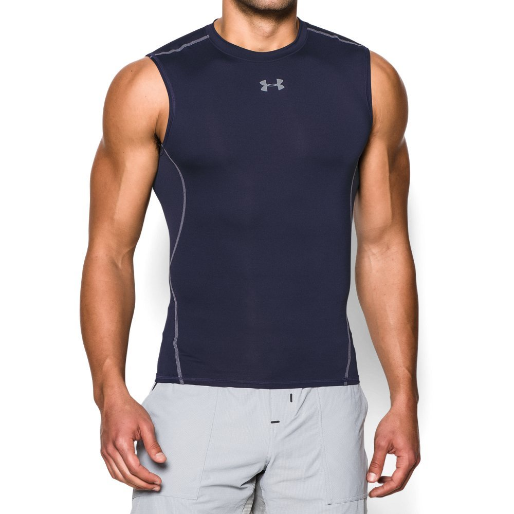 Under Armour Men's HeatGear Armour Sleeveless Compression Shirt, Midnight Navy /Steel, Large by Under Armour