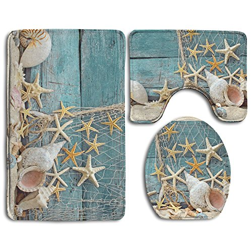 FionaLin Bath Mat,3 Piece Bathroom Rug Set,seashells And Starfish On The Boat Non Slip Toilet Seat Cover Set,Large Contour Mat,Lid Cover For Men/Women