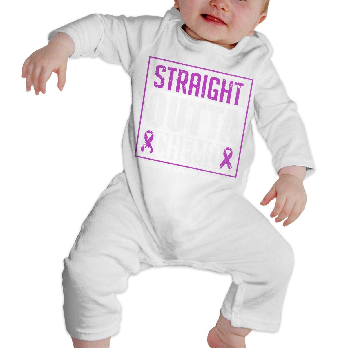 A1BY-5US Baby Infant Toddler Long Sleeve Straight Outta Chemo Pancreatic Cancer Awareness Jumpsuit Romper One-Piece Clothes