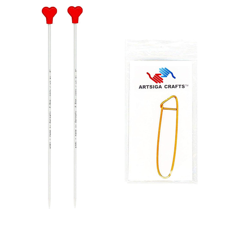 Addi Aiguille /à Tricoter Droite en Aluminium 40/cm Bundle avec 1/Artsiga Crafts Aluminium Point de Support 40cm//2.0mm Aluminium