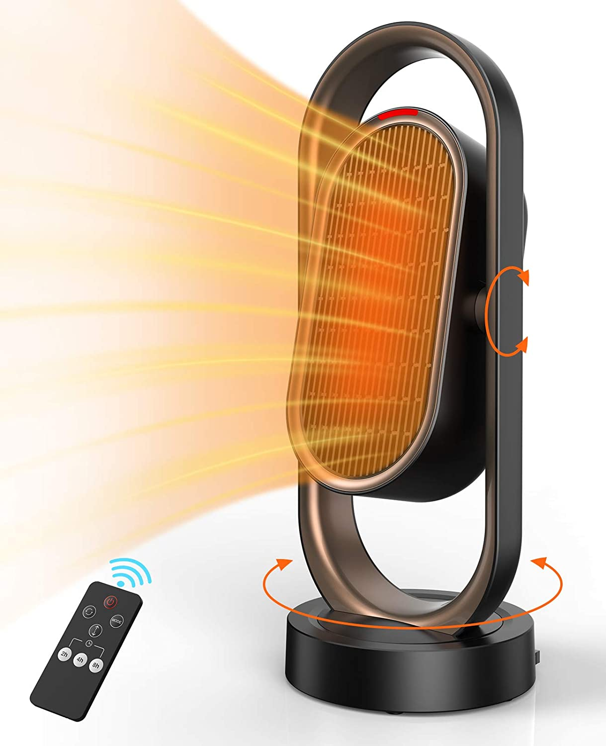 Oscillating Space Heater, Infray 1500W Portable Tower Heater, Fast Heating Ceramic Heater, PTC Electric Heater with Remote Control, 8H Timer, Up and Down Auto Swing for Home Office Indoor Use