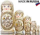 Russian Nesting Doll - Golden Domes of Russia - Hand Painted in Russia - Traditional Matryoshka Babushka - 6.75``(5 Dolls in 1)
