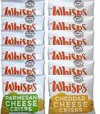 Whisps Cheese Crisps, Single Serve Bags (.63oz), 12 Pk Assortment (6 Parmesan & 6 Cheddar)