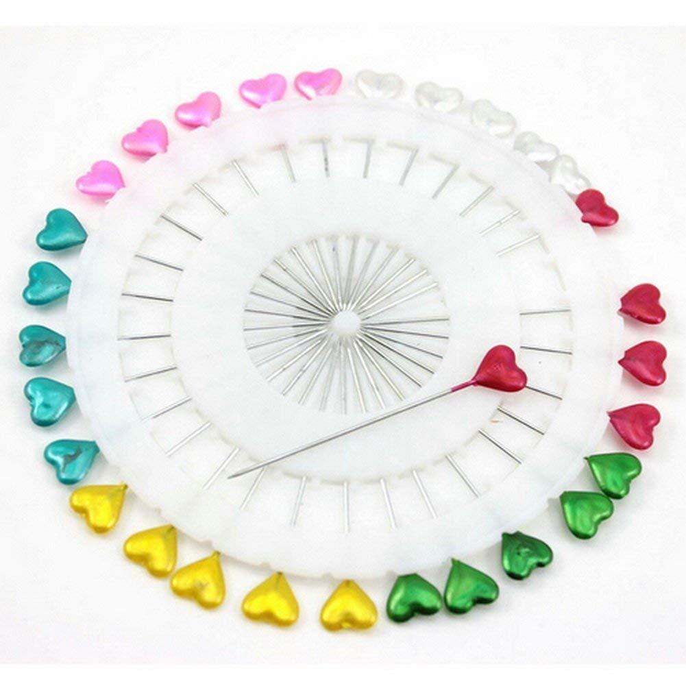 JER 30Stk Patchwork Pins Dekorative Herz Perlen Gerade Kopf Pins geleitet Pins f/ür Hochzeit Blumen Knopf Corsages Brautblumen Craft Bunte ArtSupplies