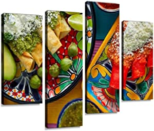 Canvas Wall Art Painting Pictures Green and red Enchiladas with Mexican sauces Modern Artwork Framed Posters for Living Room Ready to Hang Home Decor 4PANEL