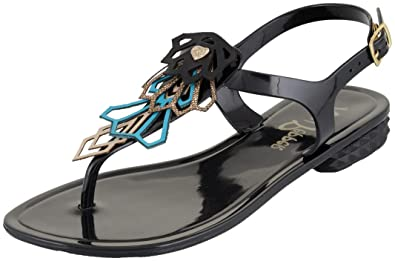 7c4450956f1e Mary Pepper 11425201 Women s Black Jelly Flip-flop Sandal with Studded  Ornament 6-7