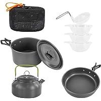 SEMPIYI Portable Camping Cookware Set, Lightweight, Durable, Mini Aluminum Folding Pot Set, Send Storage Bag.