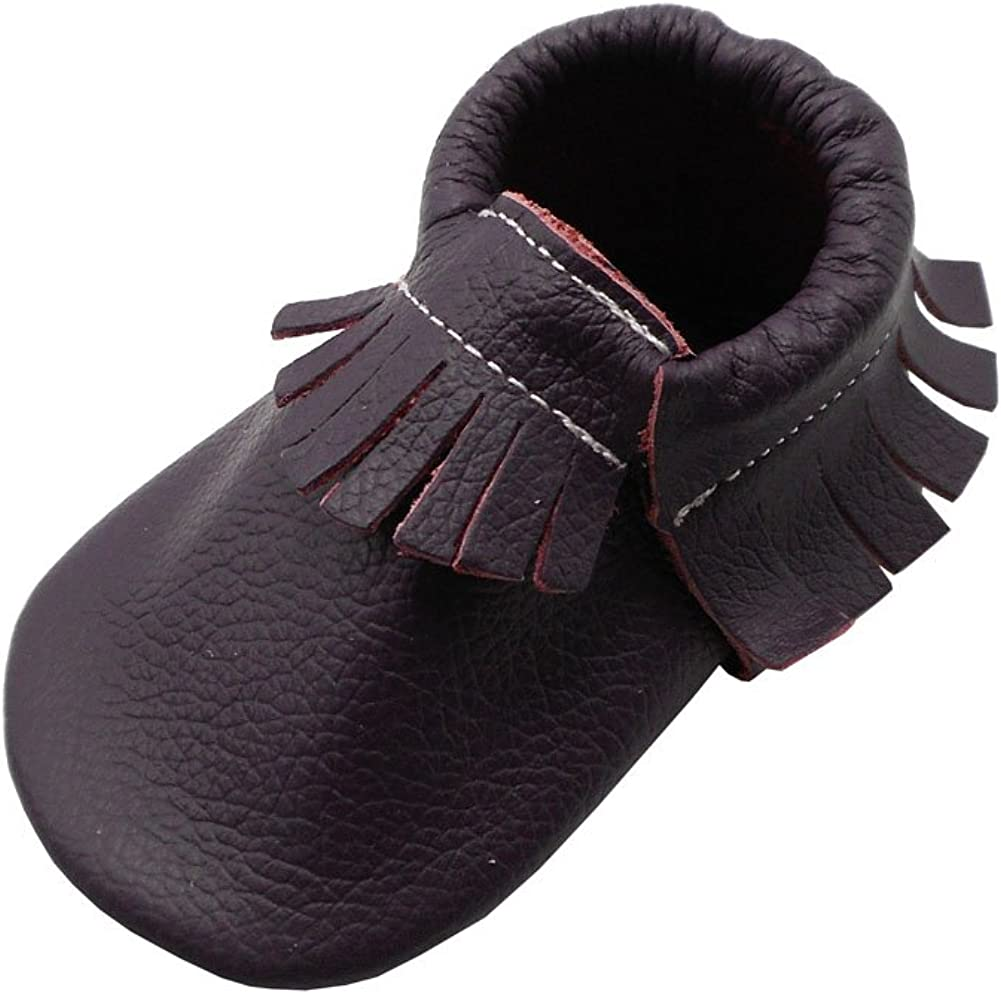 Amazon Com Yihakids Baby Tassel Shoes Soft Leather Sole Infant Shoes Baby Moccasins Crib Shoes Dark Purple Size 8 18 24 Months 5 7in Slippers