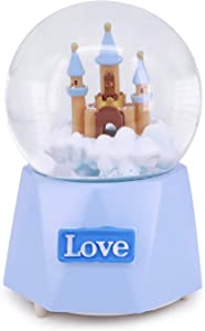 QTKJ Cute Blue Love Castle Musical Snow Globe with Color Changing LED Lights, Perfect Wedding Home Decor Valentine's Day Souvenirs (Blue)