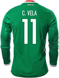 adidas Clothing & Accessories C. Vela #11 Mexico Men's Home Jersey Long Sleeve 2016 [Official Printing]