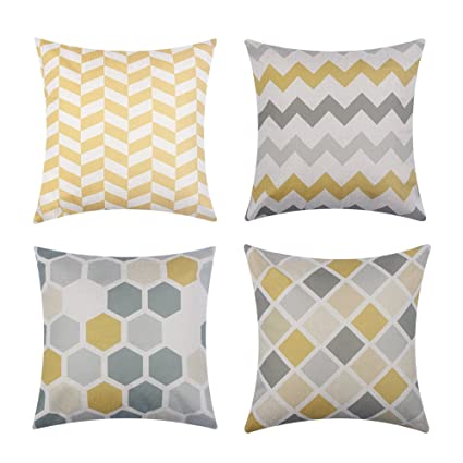 Etonnant Heyjude 4 Pack Cotton Linen Throw Pillow Cases Sofa Pillow Covers Home  Decor For Living Room