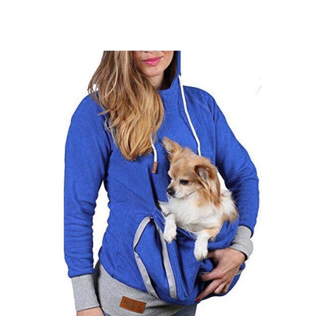 PET LOVE SERIES Unisex Big Pocket Pet Cat Carriers Pullover,[Pet Holder] Casual Sweatshirts [Kangaroo Pouch Hoodies Sweater] (L2, Blue)
