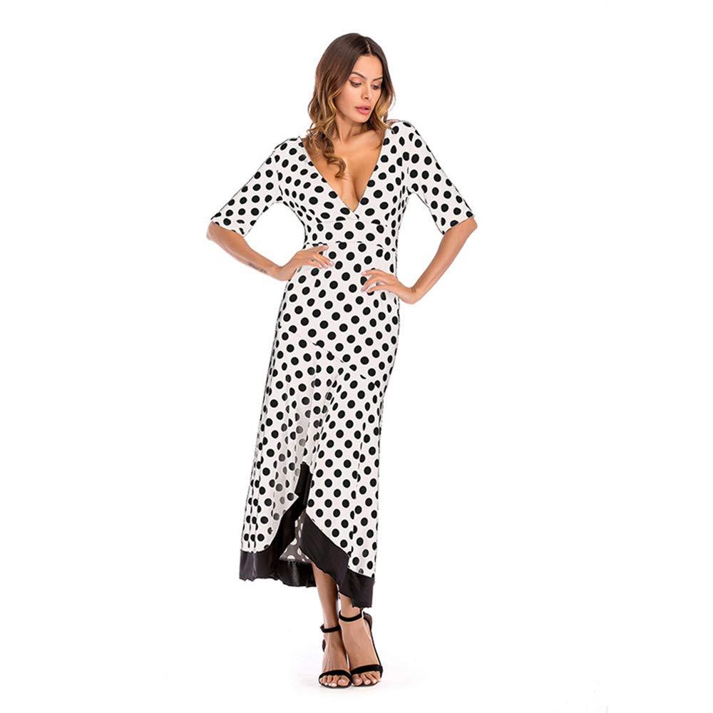 A Irregular Ruffled Large Size Dress Deep VNeck Halter European and American Dress, Women's Dress