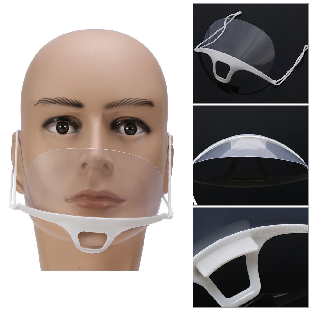 Transparent Sanitary Mask,10PCS Anti-fog Catering Food Hotel Plastic Kitchen Food Processing Cooking Restaurant Smile Mouth Mask