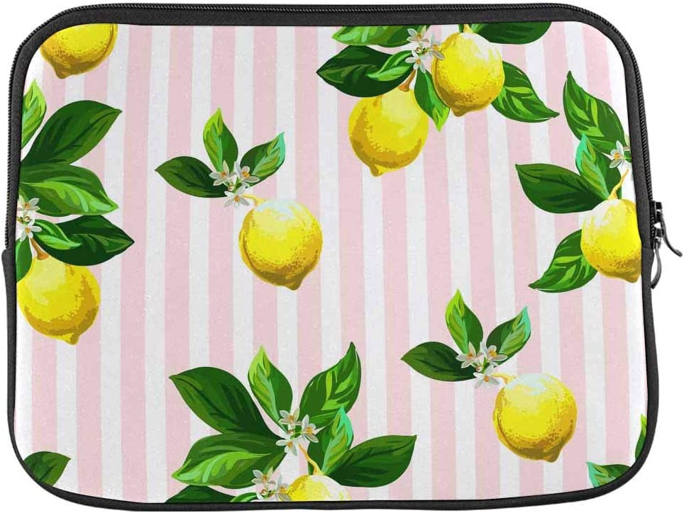 INTERESTPRINT Laptop Sleeve Bag Citrus Pattern with Stripes Notebook Computer Carrying Case Cover 13 Inch 13.3 Inch