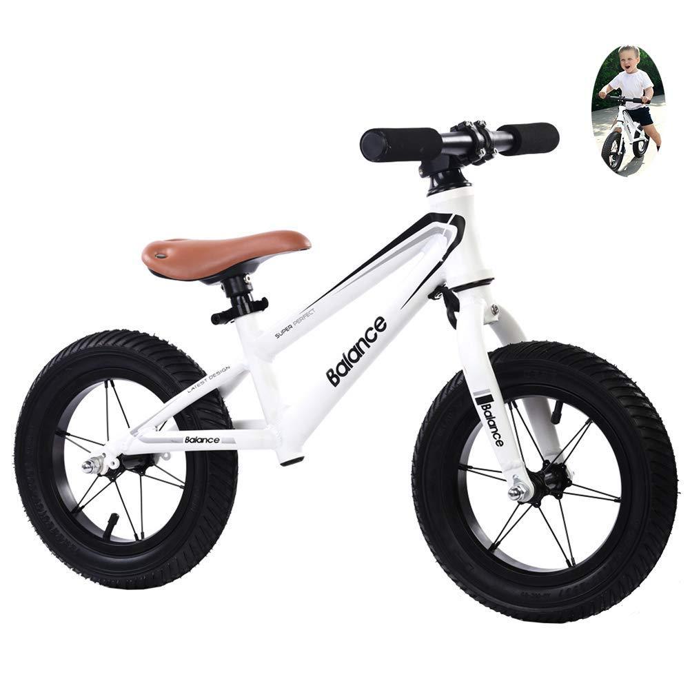 blanc Hejok   Bike D'éQuilibre,   Bike   pour Enfants en Gros Scooter 12 Pouces pour Enfants sans PéDales sur Mesure VéLo