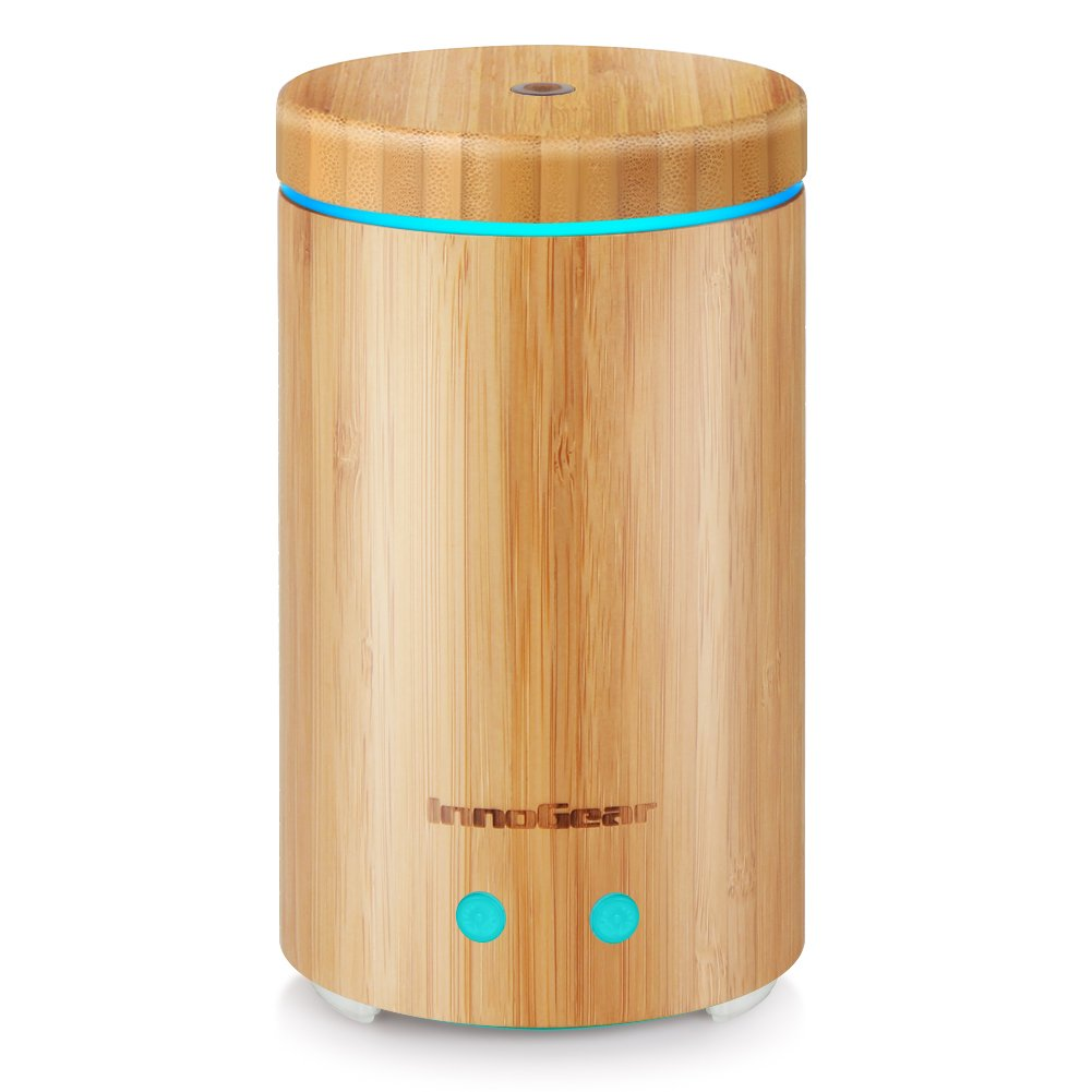 InnoGear Upgraded Real Bamboo Essential Oil Diffuser Ultrasonic Aroma Aromatherapy Diffusers Cool Mist Humidifier with Intermittent Continuous Mist 2 Working Modes Waterless Auto Off 7 Color LED Light AD308