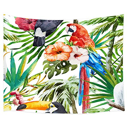 DYNH Palm Leaf Decor Tapestry, Parrot Toucan Stand on Tropical Tree Leaf with Flowers Tapestry Wall Hanging, 3D Bird Tapestries Art Home Decor Bedroom Living Room Dorm TV Backdrop, Blanket 71X60 in