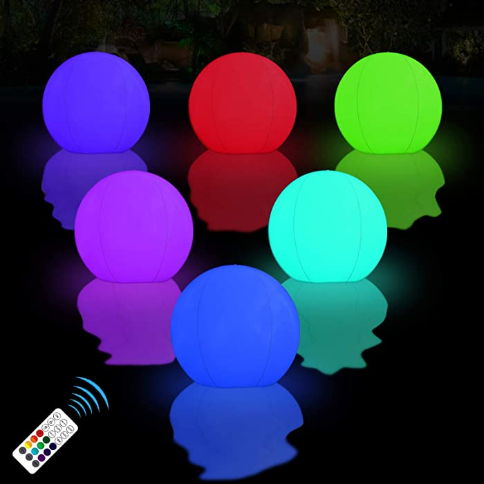 "LOFTEK Floating Pool Lights Inflatable Waterproof IP68, 15""Colorful Beach Ball Outdoor Pool Ball Lamp, 16 Color Changing LED, Party Decor for Swimming Pool,Beach,Garden,Backyard,Lawn,Pathway. 4Pack"