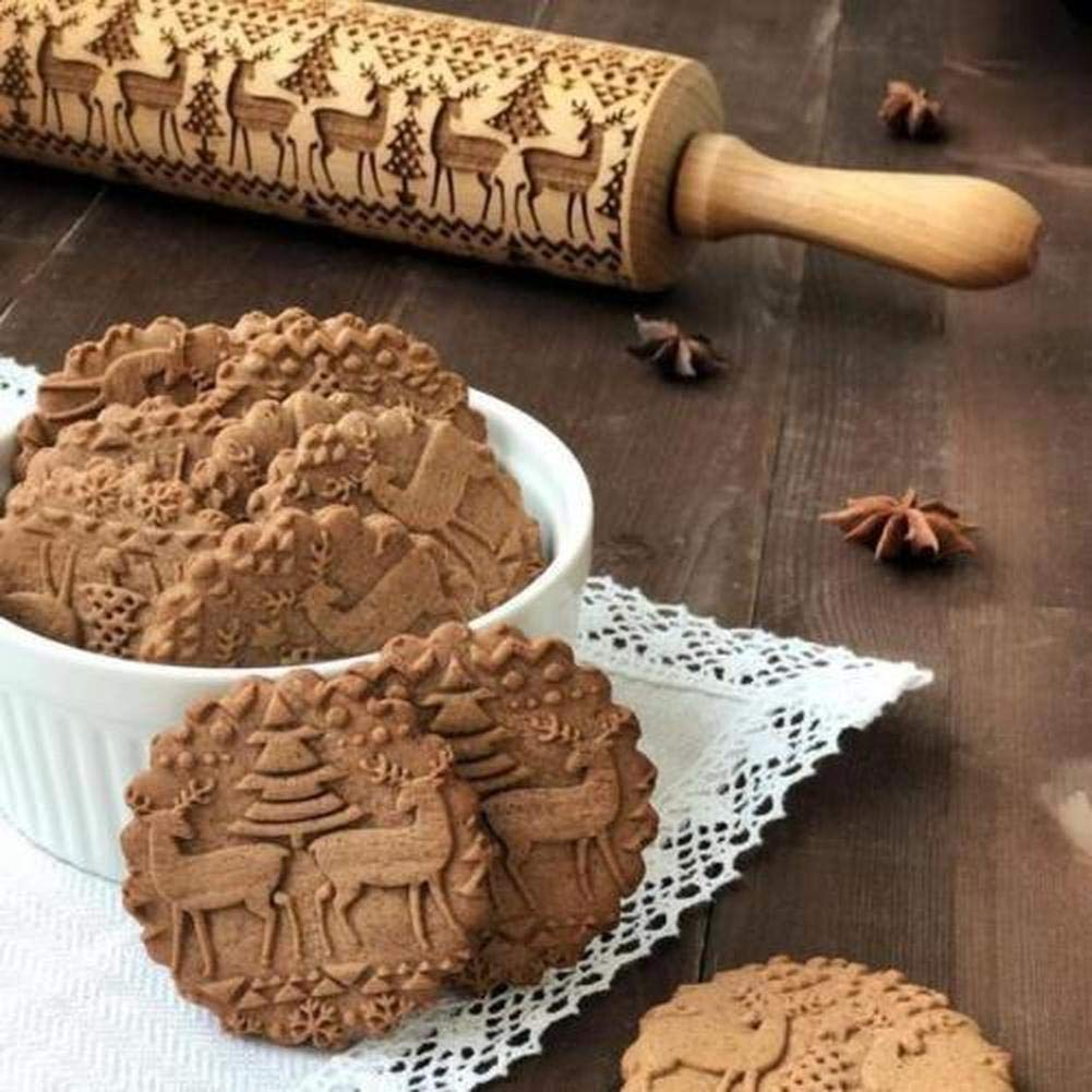 Rakia Christmas Wooden Rolling Pins (35cm) + (Bonus Cookie Cutters) Engraved Embossing Rolling Pin with Christmas Symbols For baking Christmas Theme Pastries & Cookies (13.7 Inch) by Rakia