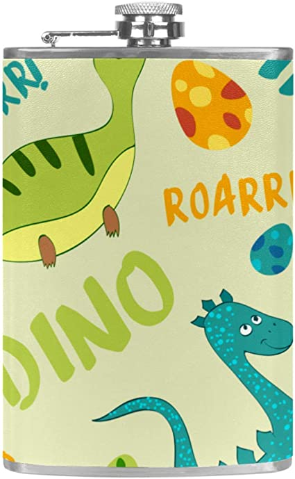 Dinosaurio, caricatura Frasco de la cadera 8 oz con un ...