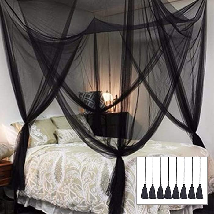 Twinkle Star 4 Corner Post Bed Canopy for Full/Queen/King Size Bed (Elegant Black)