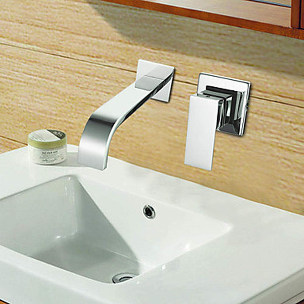 Modern Wall-Mounted Ceramic Valve Single Handle Double Hole Chromium Plating Bath Sink Faucet
