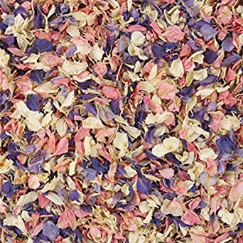 1 Litre Naturally Dried Mixed Delphinium Petal Wedding Confetti by Kellys Weddding World