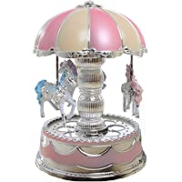 ROSENICE Music Box 3 Horses Rotate and Automatic Lifting LED Light Luminous Rotation
