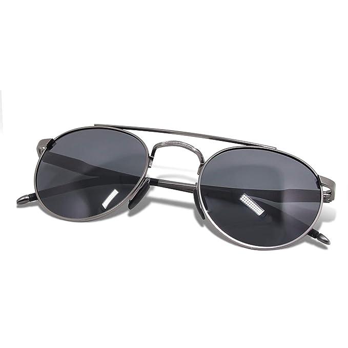 WHCREAT Gafas De Sol Polarizadas Redondas Retro Unisexo Moda Estilo Vintage Ultraligero HD Lente AL-MG Marco para Hombre y Mujer - Metálico Gris Marco Negro ...