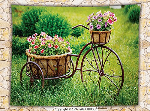Flower Decor Fleece Throw Blanket Vintage Antique Rusty Bike with a Basket Flowers in a Spring Time Garden Photo Throw Multicolor