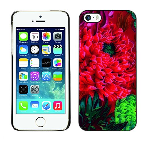 Soft Silicone Rubber Case Hard Cover Protective Accessory Compatible with Apple iPhone? 5 & 5S - flower blossom red green art watercolor