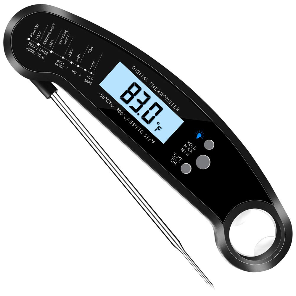 Digital Meat Thermometer Instant Read Kitchen Restaurant BBQ Grill Food Cooking With Backlit LCD Display IP67 Waterproof 304 Stainless Steel Probe