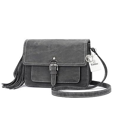 65257a82e Yoome Tassel Bag for Women Vintage Elegant Bags Satchel Fashion Single  Shoulder Messager Bags - Black
