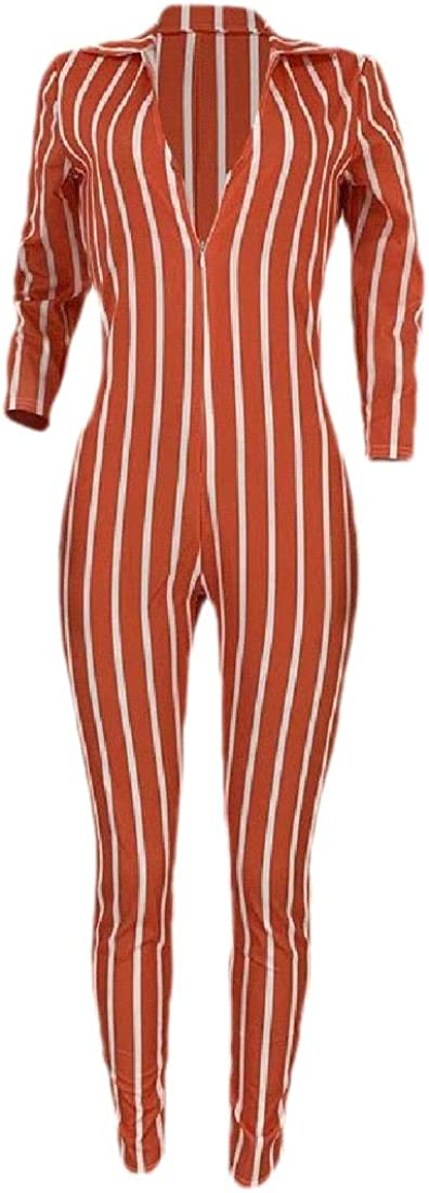 ouxiuli Womens 3//4 Sleeve Stripe V Neck Long Pants Bodycon Jumpsuit Romper One Piece Outfits
