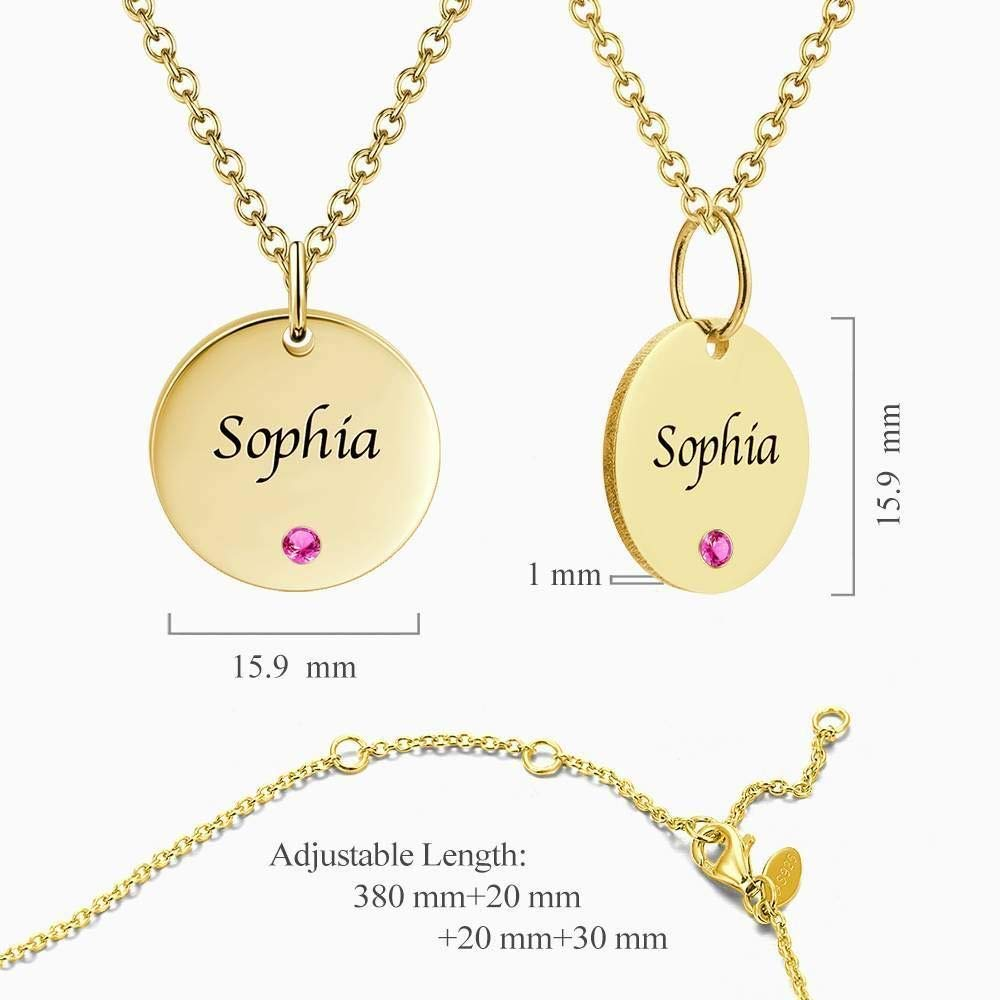 GoCustomNow Coin Tag Personalized Birthstone Necklace with Engraving 14k Gold Plated Silver